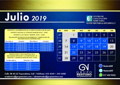 NESTOR TORO - CALENDARIO 2019_JULIO